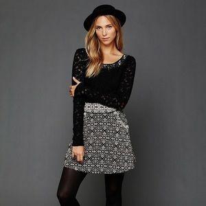 Free People Carpet Bag Circle skirt, black/tan, 10